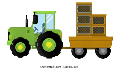 cartoon isolated farm vehicle on white background - tractor - illustration for children