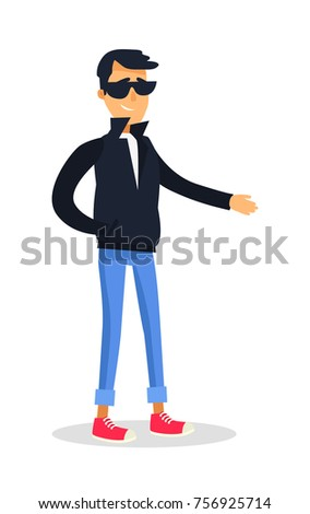 cartoon isolated male person dressed blackのイラスト素材 756925714