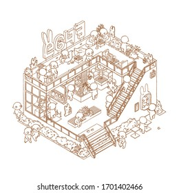 Cartoon isometric outline cafe interior. Hand drawn coloring book page of 3d restaurant space.