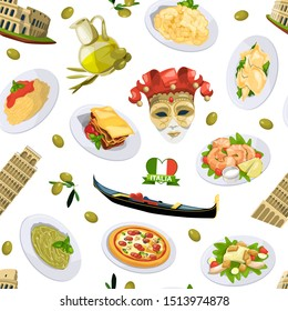cartoon italian cuisine elements pattern or background illustration