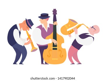Cartoon jazz musicians group illustration: contrabassist, saxophone and clarinet. People characters playing on musical instruments. Isolated on white background