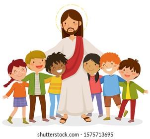 Cartoon Jesus standing and hugging happy kids