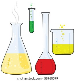 Cartoon jpeg illustration of different pieces of equipment from a chemistry lab