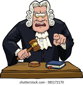Cartoon judge accuses on a white background raster version