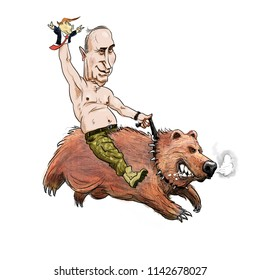 Cartoon - July 26, 2018. Vladimir Putin riding a bear with a puppet of Donald Trump.