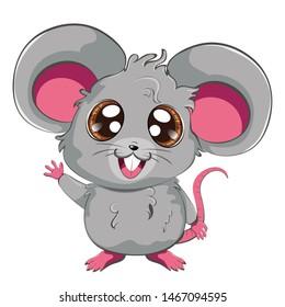 Cartoon kawaii anime grey mouse or rat design.