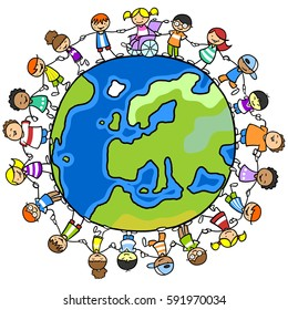 Cartoon of kids around world globe holding hands with girls, boys and disabled kids