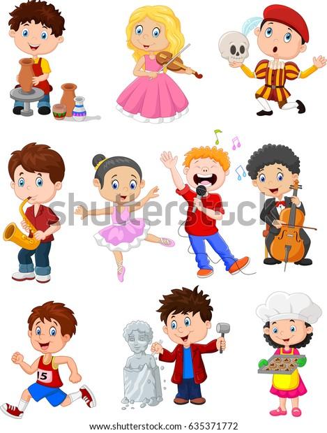 Ilustracion De Stock Sobre Ninos De Dibujos Animados Con Diferentes 635371772