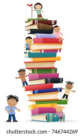 Cartoon kids climba tall stack of reading list book while the teacher looks on.