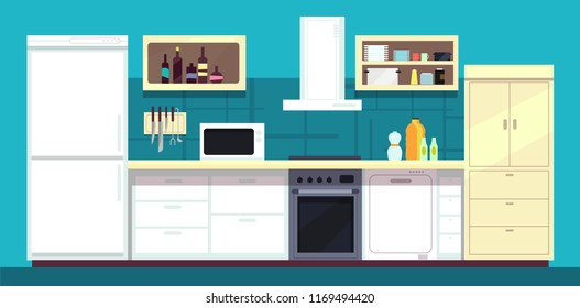 Cartoon kitchen interior with fridge, oven and other home cooking appliances illustration. Kitchen and stove interior, cooking and fridge domestic
