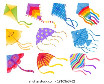 Cartoon kites. Wind flying toy with ribbon and tail for kids. Makar Sankranti. Butterfly, fish and rainbow kite shape and design,  set. Illustration wind kite game, summer flying toy