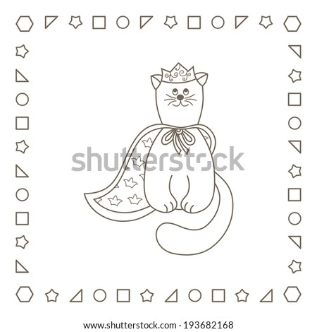 Cartoon Kitten King Coloring Page Coloring Stock Illustration
