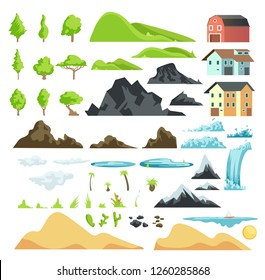 Cartoon landscape elements with mountains, hills, tropical trees and buildings