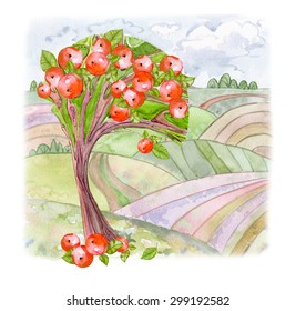 Cartoon landscape of watercolor with apple tree