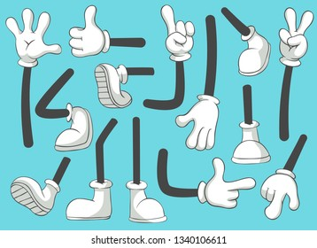 Cartoon legs and hands. Leg in boots and gloved hand, comic feet in shoes. Glove arm and shoe heel kicking or walking black leggings mascot  isolated illustration symbols set