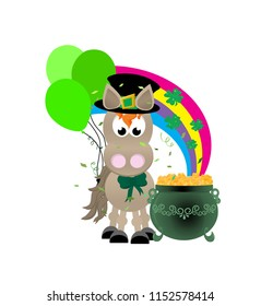 Cartoon leperchaun horse celebrating St. Patrick's day wearing a top hat and bow, with green balloons, and a rainbow decorated with shamrocks flowing into a green pot of gold.