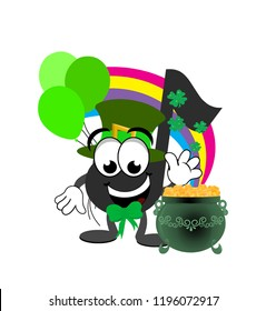 Cartoon leperchaun music note celebrating St. Patrick's day wearing a top hat and bow, with green balloons, and a rainbow decorated with shamrocks flowing into a green pot of gold.