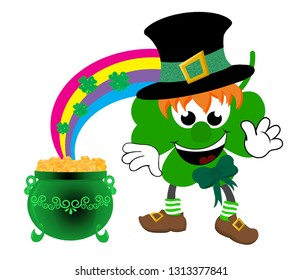 Cartoon leprechaun celebrating St. Patrick's day wearing a top hat and bow, with a rainbow decorated with shamrocks flowing into a green pot of gold.