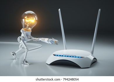 Cartoon light bulb robot attaches LAN cable to Wi-Fi router. Internet connection concept. 3D render