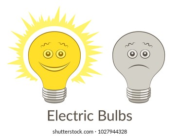 Cartoon Light Electric Bulbs, Glowing and Dark, Smiling and Sad Isolated On White Background.