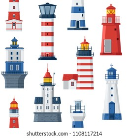Cartoon lighthouse pattern. Red and blue sea guiding light houses seamless background. Sea pharos or beacon maritime backdrop. Searchlight towers of different types.