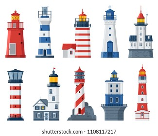 Cartoon lighthouse set. Red and blue sea guiding light houses buildings. Sea pharos or beacon collection isolated on white background. Searchlight towers of different types in flat design.