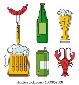 cartoon lines beer icon. Beer bottle, glass and food. Design elements for marketing, advertising, promotion, oktoberfest promotion. Flat cartoon illustration. Objects isolated on white background.
