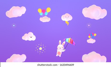 Cartoon little bunny holding a magic rainbow umbrella flying in the purple sky. Happy smiley face clouds, thunder lightning bolt, stars, and colorful balloons. 3d rendering picture.