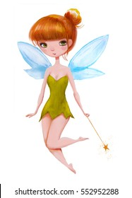cartoon little fairy with magic wand