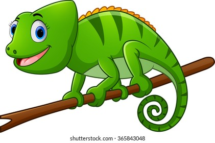 cartoon lizard on branch