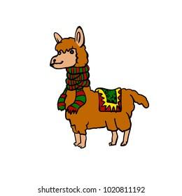 Cartoon llama with scarf