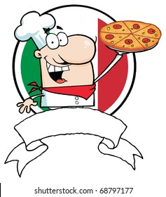 Cartoon Logo-Proud Chef Holds Up Pizza In Front Of Flag Of Italy