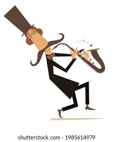 Cartoon long mustache saxophonist illustration. Smiling mustache man in the top hat is playing music on saxophone with inspiration isolated on white