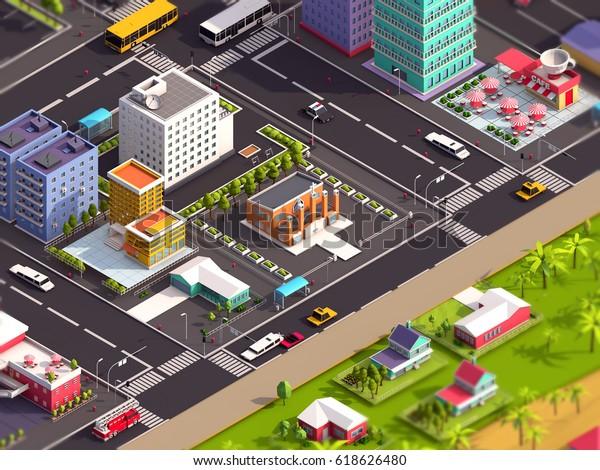 Cartoon Low Poly City Beach 3d Stock Illustration 618626480