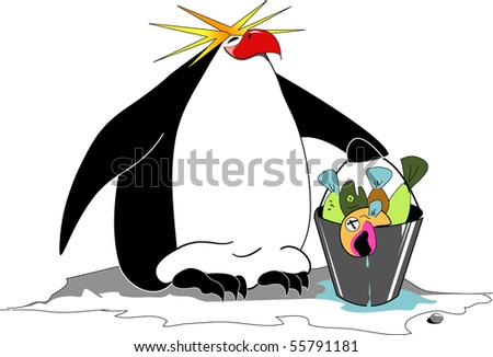 Royalty Free Stock Illustration Of Cartoon Macaroni Penguin Fish
