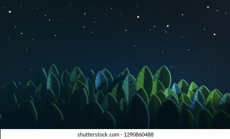 Cartoon magic illustration of a lawn with a starry sky. Stylized grass in the form of large leaves. Abstract summer green beautiful background. Landscape with stars on the sky. 3D rendering.