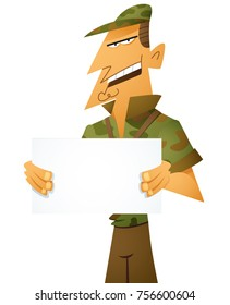 A cartoon male boot camp director holds a blank signand gives instruction.