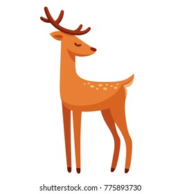 Cartoon male deer drawing. Elegant stag with antlers illustration.