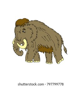 Cartoon mammoth standing on ice age. Isolated on white background.