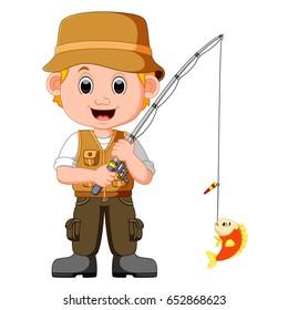 Cartoon man fishing