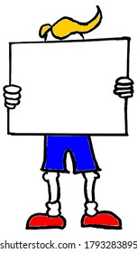 Cartoon man holding white blank protest board or banner