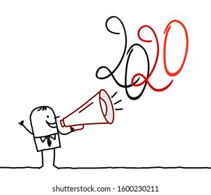 Cartoon Man with Megaphone and 2020 Sign
