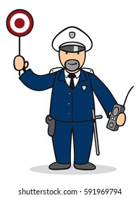 Cartoon of man as policeman with safety sign