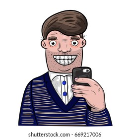 Cartoon man taking self portrait with his mobile phone.
