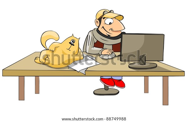 cartoon man working at a computer, a cat lying on the table