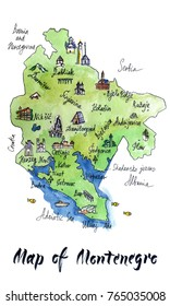 Cartoon map of attractions of Montenegro, hand drawn, illustration