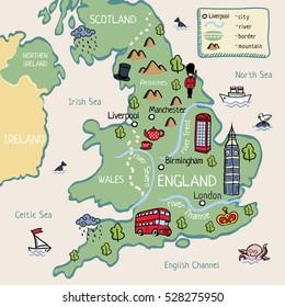 Cartoon map of England