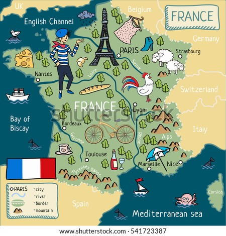 Mountain Map Of France.Cartoon Map France Stock Illustration 541723387 Shutterstock