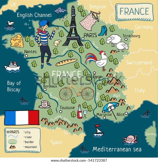 English Map Of France.Cartoon Map France Stock Illustration 541723387