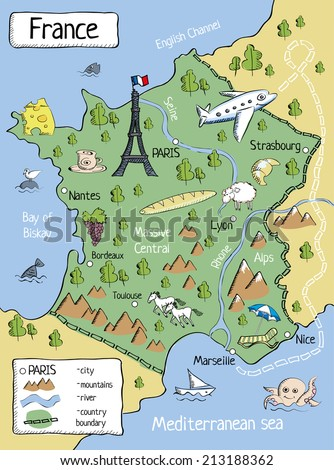 Map Of France In English.Cartoon Map France Characters Objects Stock Illustration 213188362